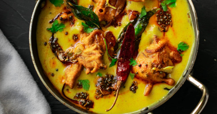 Kadhi Pakora (Yogurt based gravy with gram flour dumplings)