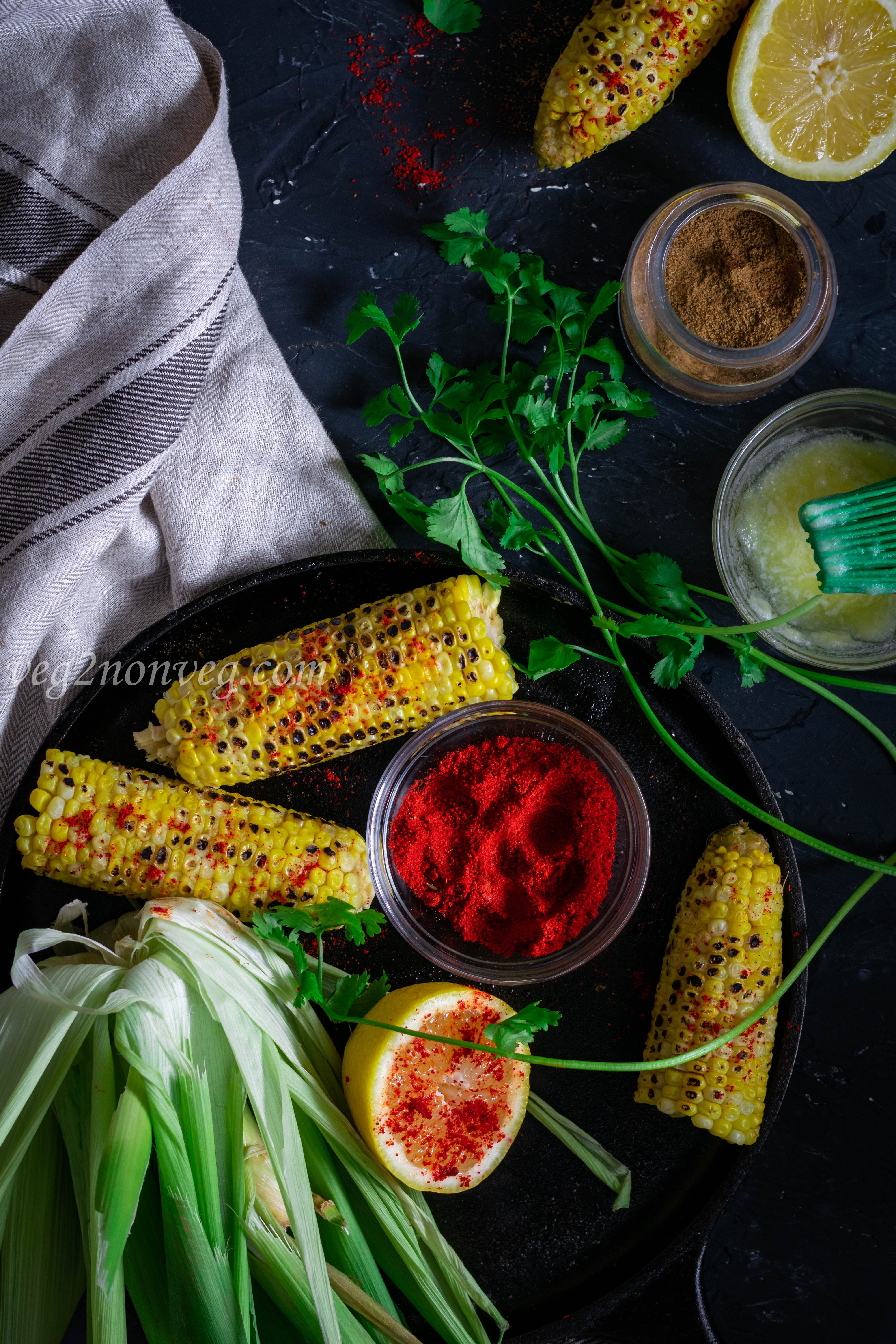 Beach style Indian grilled corn on the cob