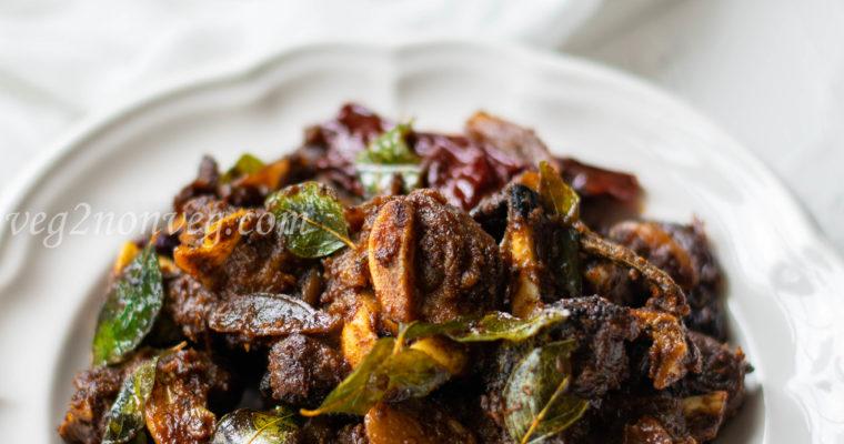 Indian spicy goat fry (Chettinad mutton chukka varuval)