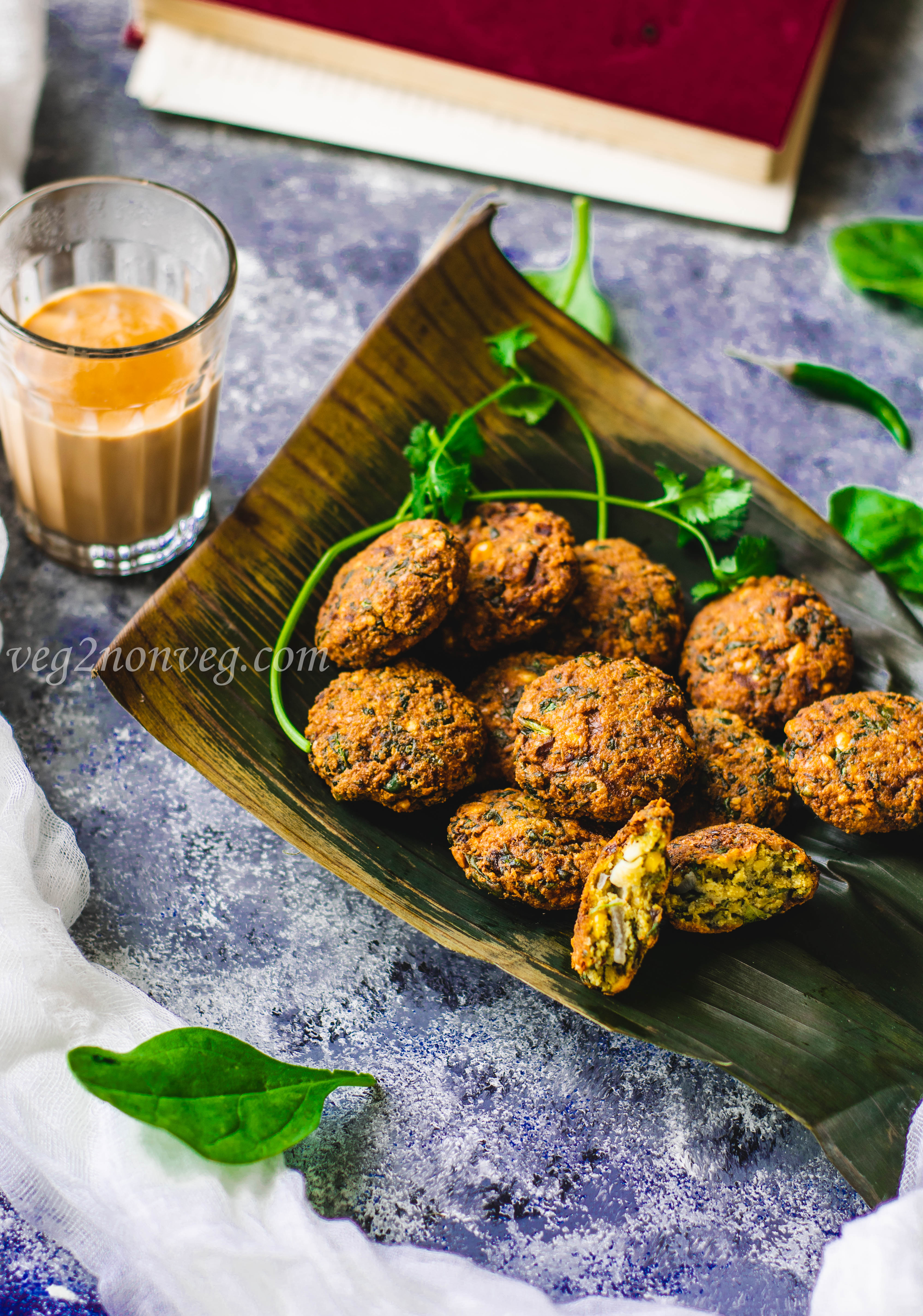 Keerai Masal Vadai(Spinach and lentil fritters)
