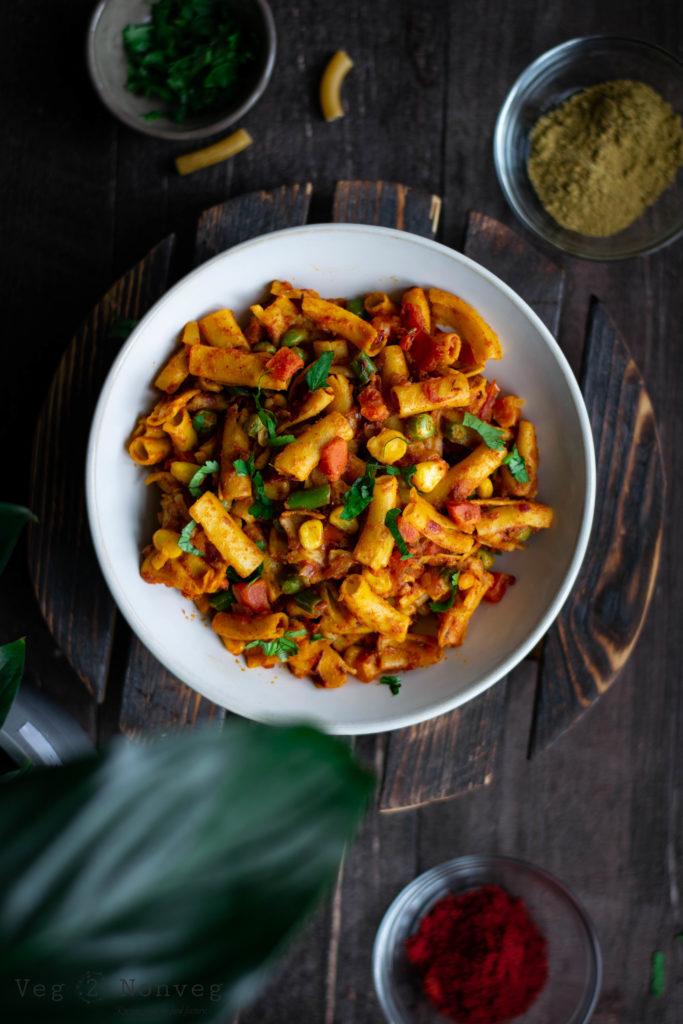 pasta, masala pasta, rotini, gluten free pasta, food styling, food phtotgraphy, italian, indian stylr