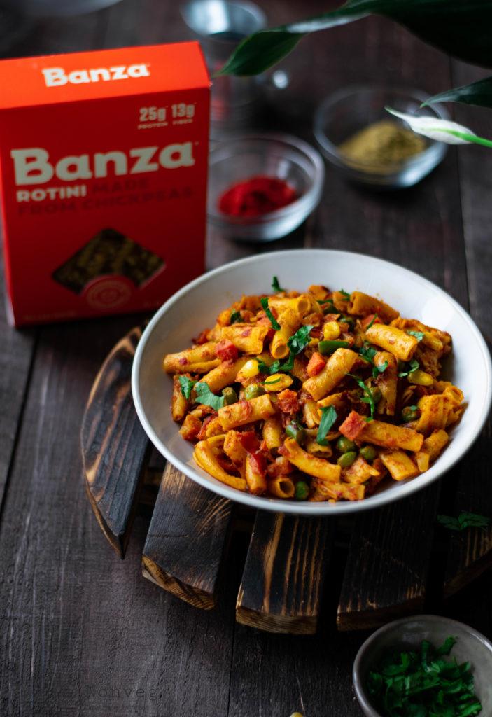 pasta, masala pasta, rotini, gluten free pasta, food styling, food phtotgraphy, italian, indian style