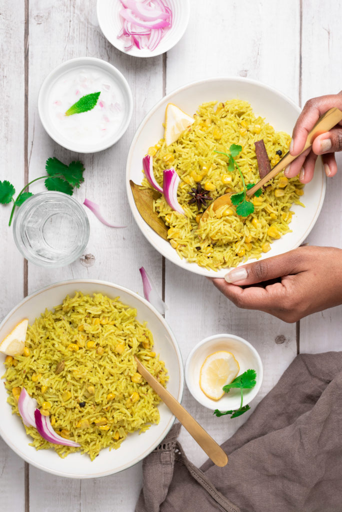 corn pulao, corn pulao recipe, instant pot corn pulao, rice recipes, instant pot rice dishes, pilaf, sweet corn, frozen corn, Indian food, Indian pulao, food photography rice, food styling pulao