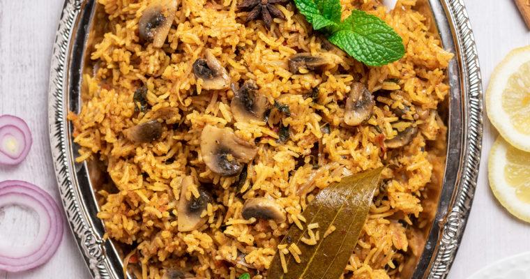 Chettinad Mushroom Biryani Recipe | How to make mushroom biryani recipe